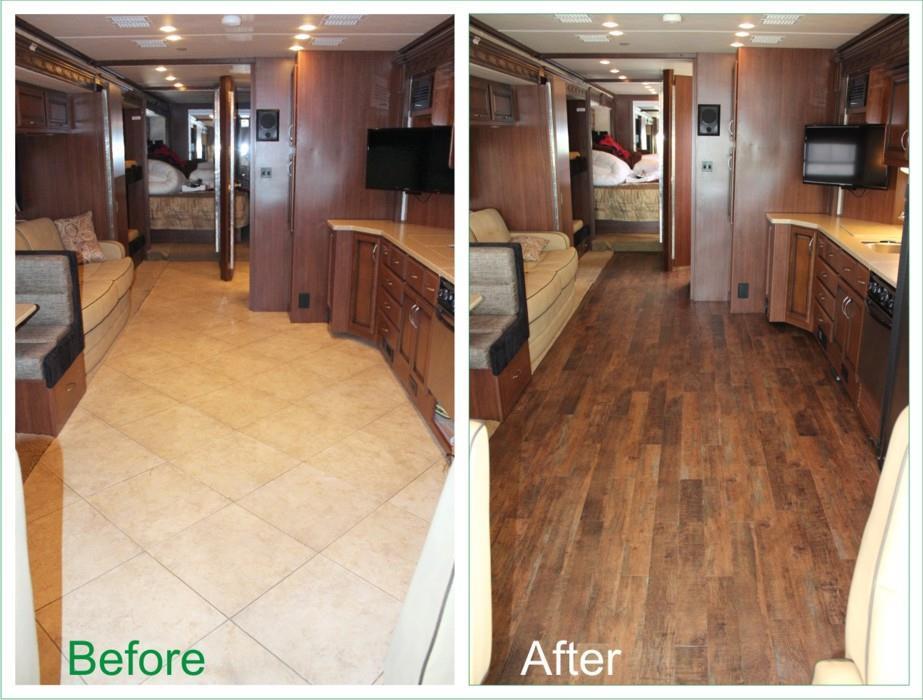 Rv coach motorhome retrofits flooring for Motor city carpet flooring